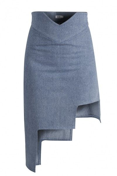 TRICIA SKIRT - Ready to add an unconventional touch to your attitude? This bold approach gives denim a unique and contemporary feel. The modern asymmetrical silhouette of the Tricia Skirt works perfectly with a loose top and it can easily become your favorite piece in the closet.