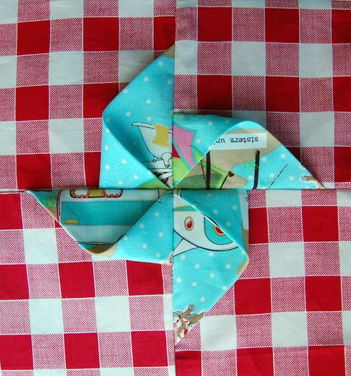 Folded Pinwheel Tutorial - The Cloth Parcel out of Glamping fabric - love it @ModaFabrics