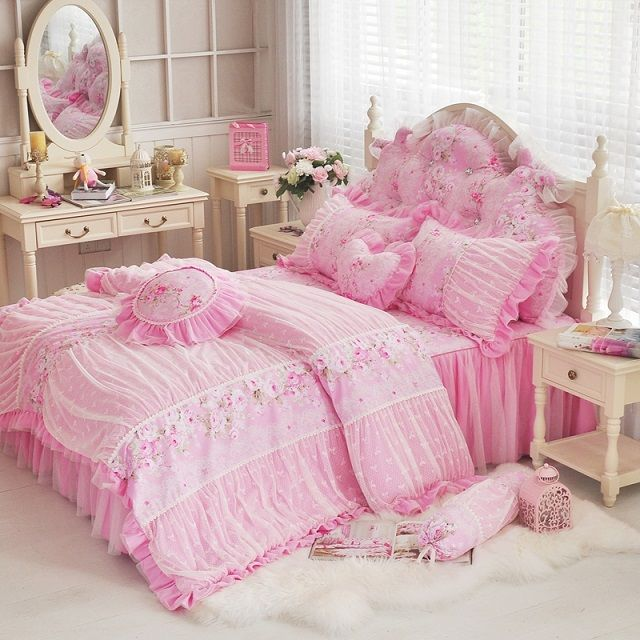 find more information about free shipping princess cotton 4pcs bedding set king wedding pink luxury homebedding set queen size lace duvet cover bedclothes