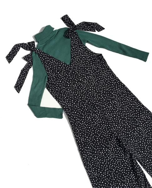 LOVEBIRD   Black & White Spot Jumpsuits With Bow Tie Shoulder
