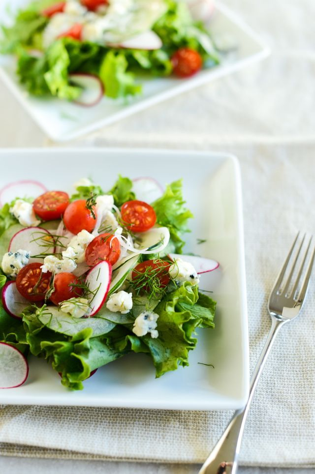 Danish Blue Cheese Salad with Cucumbers, Radishes, Tomatoes, and Dill   Recipe at Outside Oslo