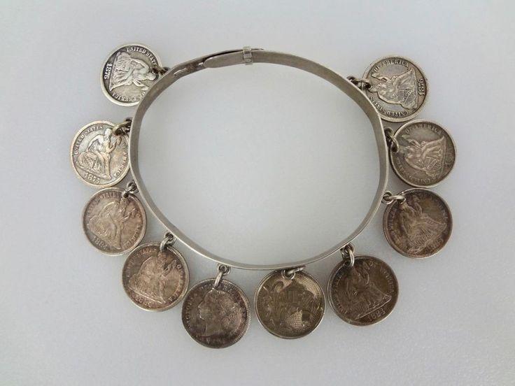 Antique Victorian Sterling Silver 10 Coin Love Token Charm Bracelet 1875 -1884  | eBay