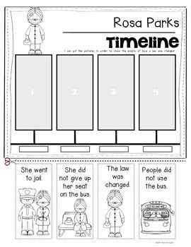 Rosa Parks {Timeline} for Kindergarten and First Grade Social Studies. Black History Month or Martin Luther King, Jr. Studies. $