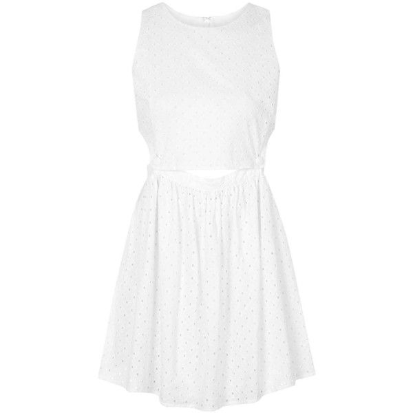 TOPSHOP PETITE EXCLUSIVE Embroidered Pinafore Sundress ($20) ❤ liked on Polyvore featuring dresses, topshop, petite, white, topshop dresses, white sundress, white cotton sundress, white dress and petite sundresses