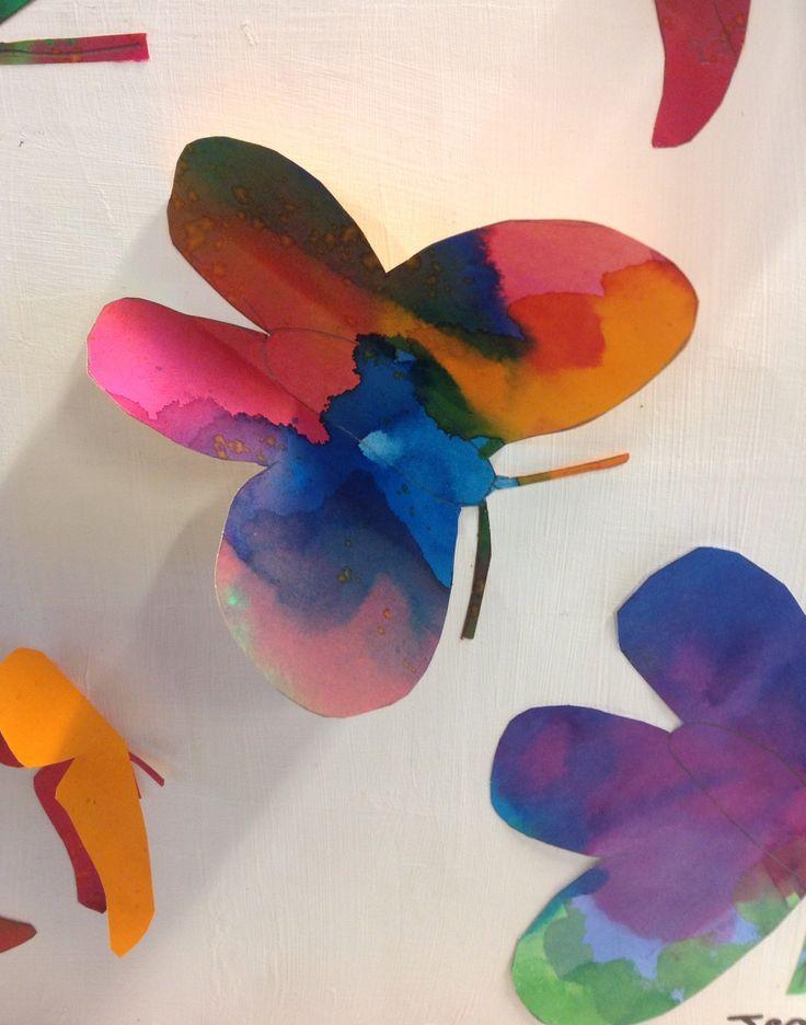 1B - Spes Nostra Heule. Vlinders in ecoline.