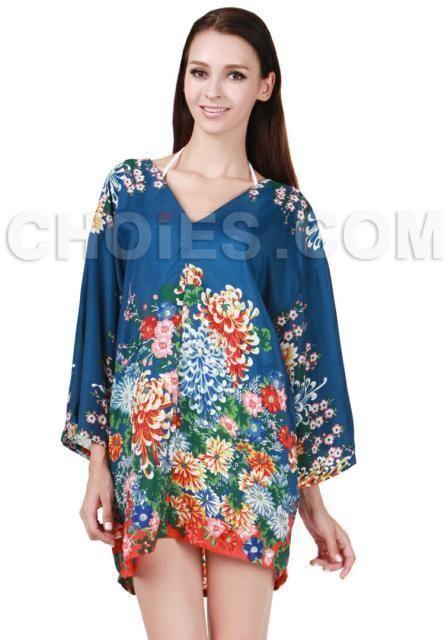 Choies Blue Floral Loose Kimono Dress on shopstyle.com