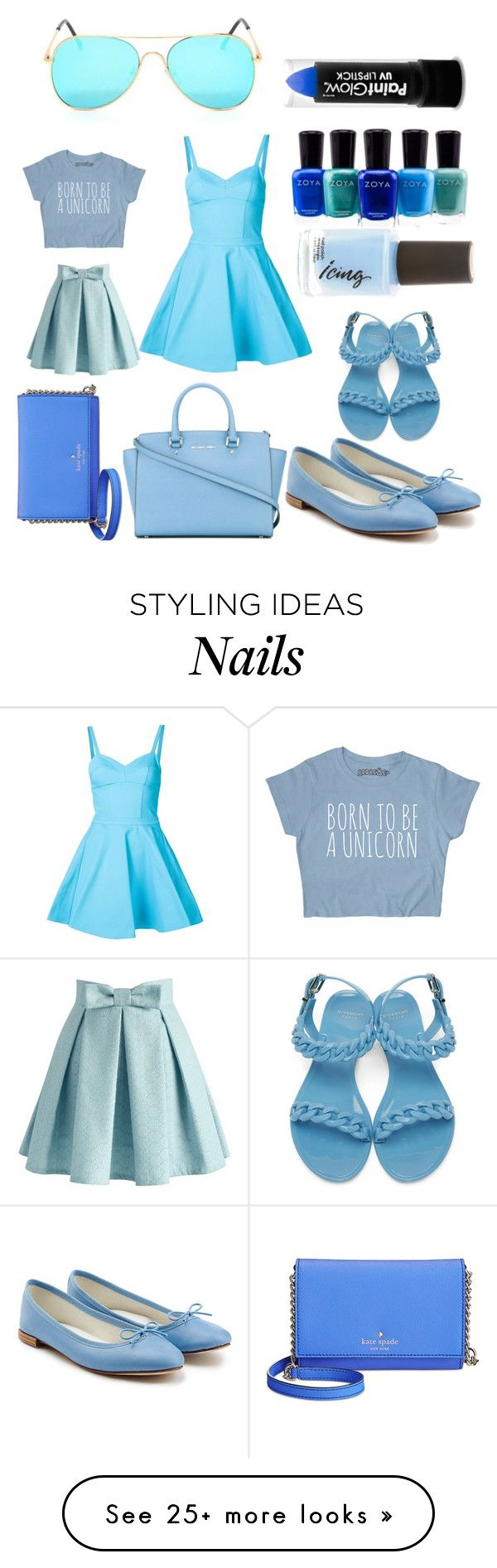 """Blue"" by karizzmarocks on Polyvore featuring Jeremy Scott, Zoya, Givenchy, Repetto, MICHAEL Michael Kors, Kate Spade and Chicwish"