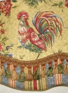 Custom Valance French Country Waverly Fabric Gold Red Rooster Toile