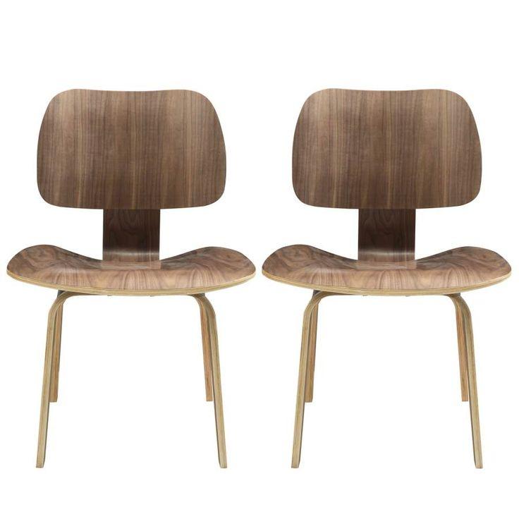 2 Fathom Modern Walnut Plywood Dining Chairs