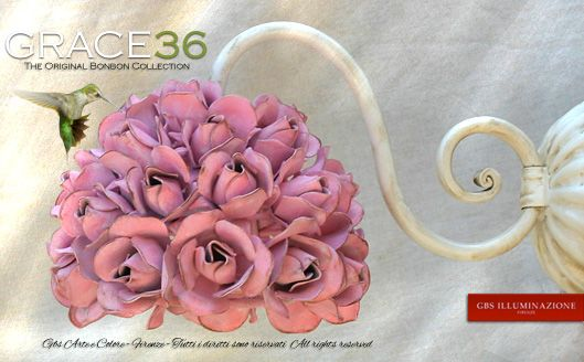 Grace36 – Wall Sconce Small Grace with 36 roses | GBS Illuminazione – Ferro Battuto – Wrought Iron – GBS Arte e Colore