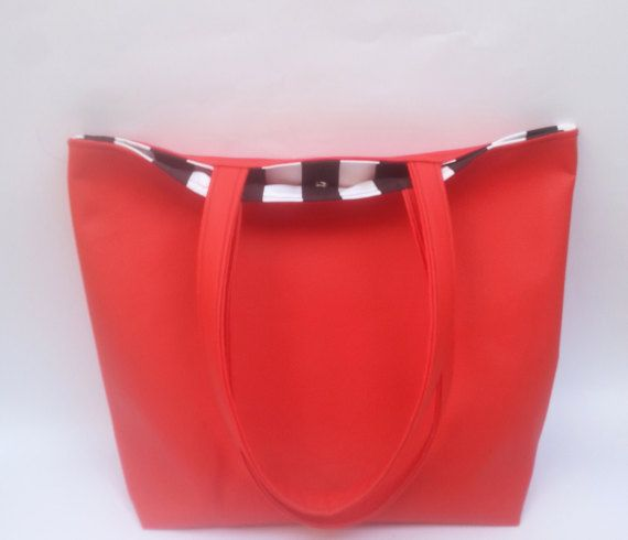 Red leather tote, striped lininig, tote bag handmade Etsy https://www.etsy.com/listing/250742744/red-leather-tote-bag-faux-leather-tote