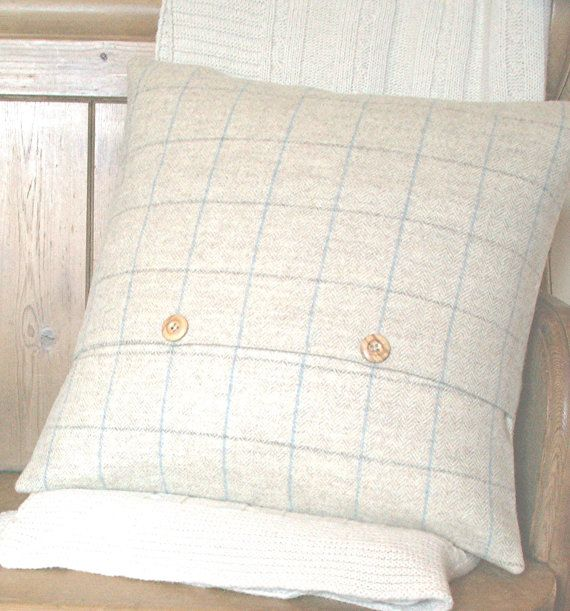 Pure Wool Tweed / Herringbone / Blue Check Cushion / by maisiev, £33.00