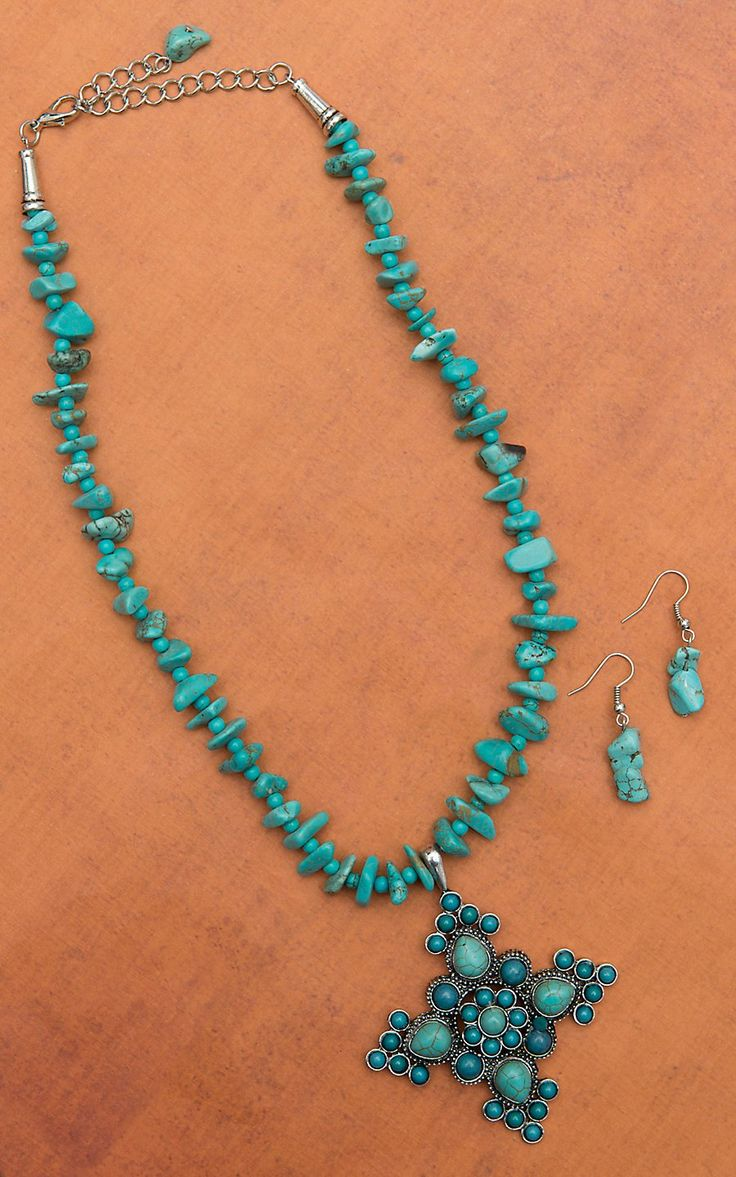 Turquoise Natural Stone Necklace with Cross Pendant Set