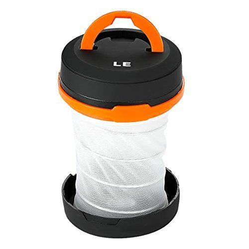LE Collapsible LED Camping Lantern flashlight, Dual Purpose, 3 Modes, Battery Powered, Water Resistant, Home, Garden and Camping Lanterns for Hiking, Emergencies, Outages--5.09