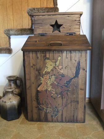 Rustic Handmade Pine Trash Bin