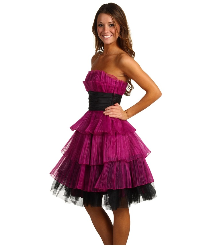 Betsey Johnson Evening Pleated Organza Tiered Dress