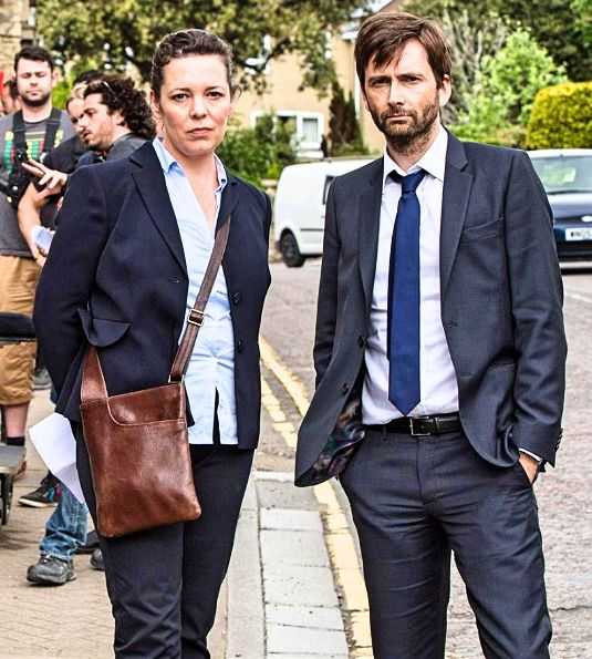 Olivia Colman and David Tennant on set of Broadchurch 3