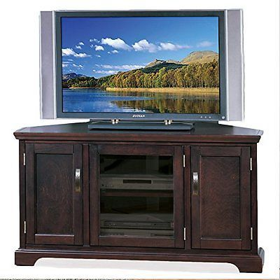 Entertainment Units TV Stands: Leick Furniture Riley Holliday Corner Tv Stand With Storage-46-Inch-Chocolate BUY IT NOW ONLY: $279.66