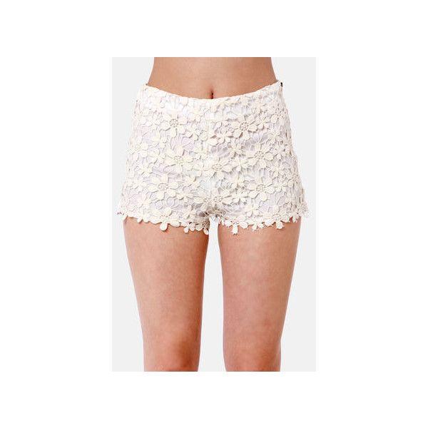 Black Sheep Dahlia Cream Lace Shorts ($62) ❤ liked on Polyvore featuring shorts, high rise shorts, black lace shorts, black high waisted shorts, floral high waisted shorts and crochet lace shorts