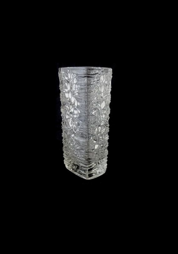"""Sklo Union Frantisek Peceny Hermanova 20212 -- """"Lila"""" glass vase -- Czech pressed glass, sold by CzechGlassCollector, zł80.00"""