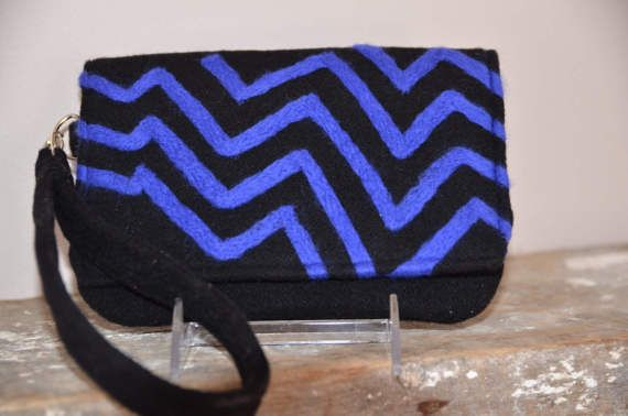 Black & Peacock Chevron Purse Felted by TwiceNicePurses on Etsy