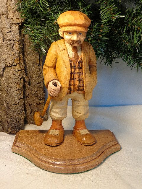 Golfer caricature carving hand carved wood sculpture of a