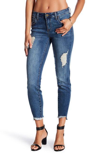 KUT from the Kloth Janet Frayed Hem Skinny Jeans