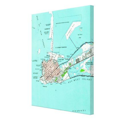 Vintage Map of Key West Florida (1962) Canvas Print - vintage gifts retro ideas cyo