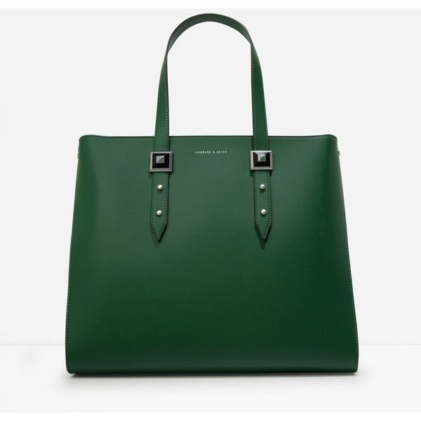 CHARLES & KEITH Stud Detail Oversized Tote ($89) ❤ liked on Polyvore featuring bags, handbags, tote bags, green, green purse, zip tote, zip tote bag, zippered tote bag and oversized handbags