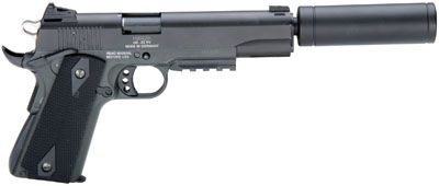 Description: Midwest Hunters Outlet offers American Tactical Imports 1911 GSG Pistol .22 LR 5in 10rd Black with fake Suppressor. BRAND:American Tactical Imports # OF MAGS:1 MODEL:GSG 19