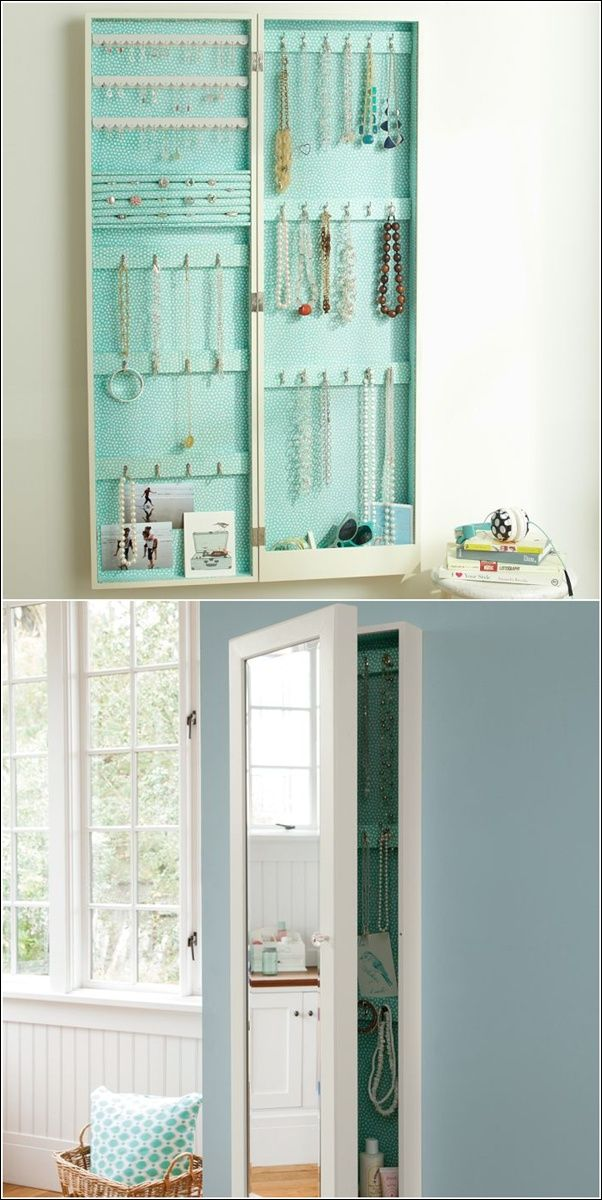 Lots of jewelry and necklace storage concealed in a wall mounted mirror