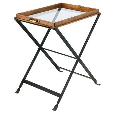 BIDKhome Wood and Glass Tray on Folding Stand