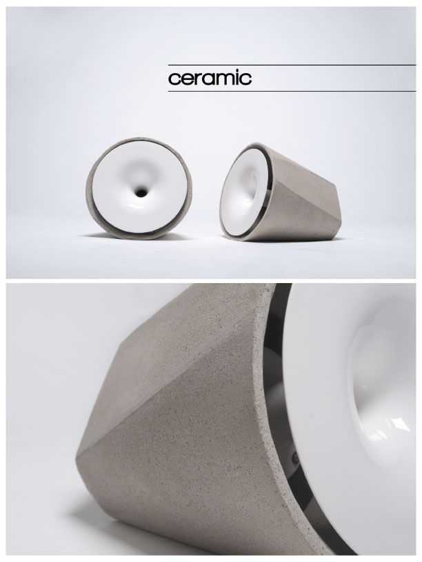 Cement and ceramic speakers.