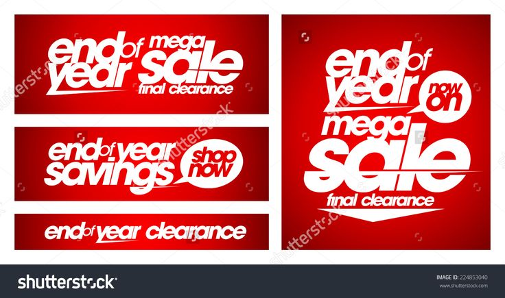 End Of Year Mega Sale Banners Set. Stock Vector Illustration 224853040…