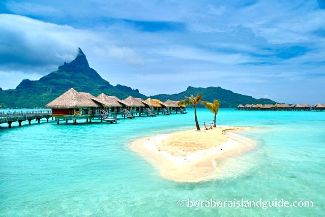 Information on Bora Bora's weather, visa requirements, language, time zone, currency, geography, population, transport, activities, shopping, power voltage, telephone, and more