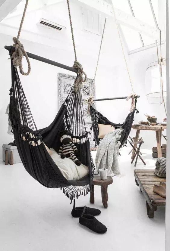 fauteuil suspendu salon ambiance boheme