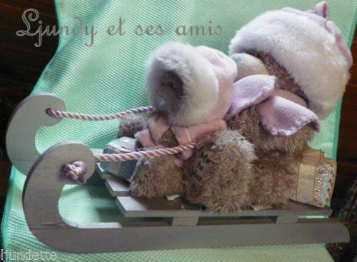Me To You *-* MAGNIFIQUE LUGE *-* 35 cm avec 2 oursons et cadeaux modèle a