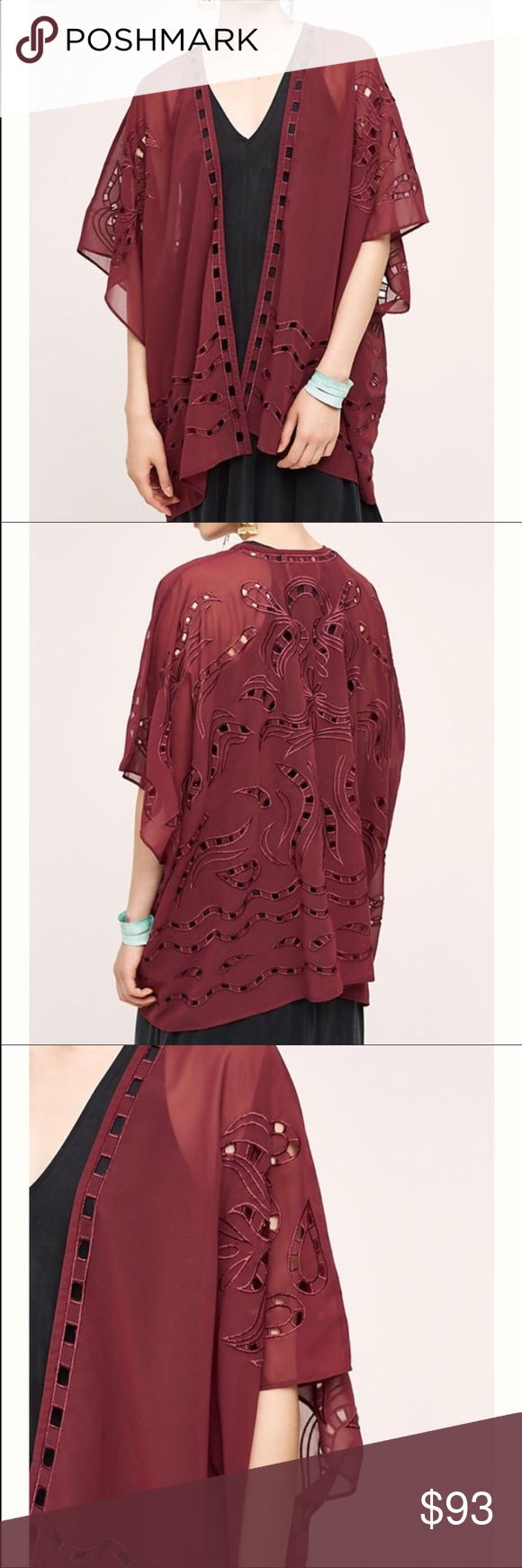 New Anthropologie Brand Burgundy Kimono Cardigan Marked as an xs, small, medium, large, XL so it shows up for everyone who wears those sizes as this is a one size fits all! No matter which size you choose you'll receive a one Size fits all cardigan. Anthropologie brand called Dalia ⚜️I love receiving offers through the offer button!⚜️ Brand new with tags! Fast same or next day shipping!📨 Open to offers but I don't negotiate in the comments so please use the offer button😊 Anthropologie…
