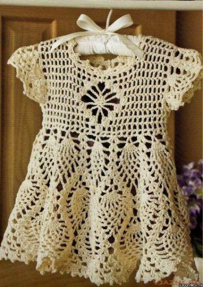 схемы вязаных крючком платьев для детей