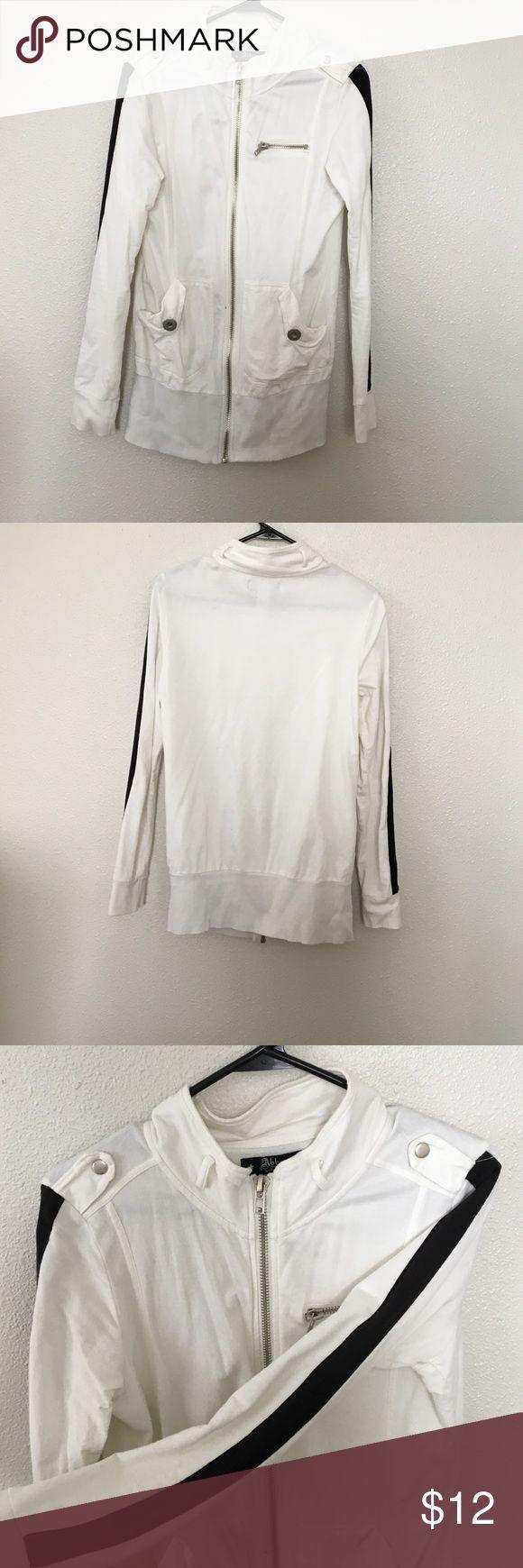 Women's zip up black & white sweatshirt Zip up sweatshirt. Black stripes down sleeve. EUC Tops Sweatshirts & Hoodies