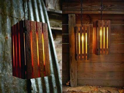 L mparas con cajones de madera decoraci n pinterest - Lamparas originales recicladas ...