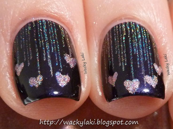 Raining Hearts: Base is Picture Polish Aphrodisiac (vampy plum shade), stamped with Color Club Harp On It (silver holographic) and Bundle Monster plate BM-319.