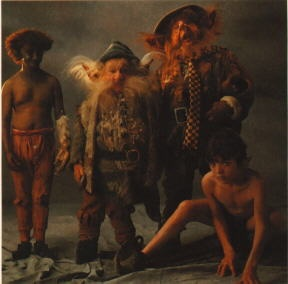 the friendly fairie folk - Blunder (Kiran Shah), Screwball (Billy Barty), Brown Tom (Cork Hubbert) and Gump (David Bennett)