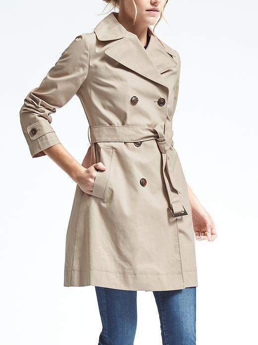Classic Banana Republic double breasted khaki trench coat spring closet staple