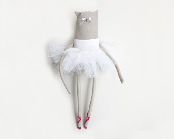 Ballerina Cat Doll. OOAK cat art doll wall art soft sculpture.