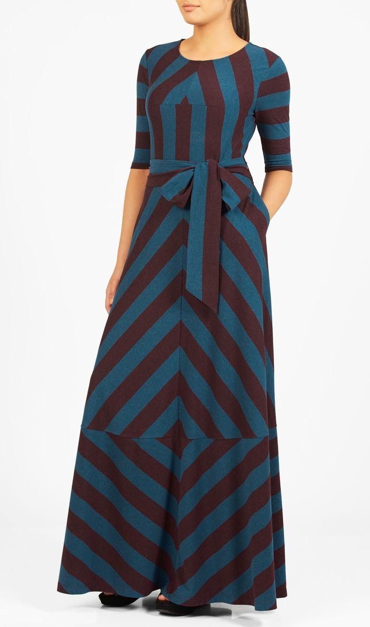 Eshakti Chevron stripe cotton knit maxi dress
