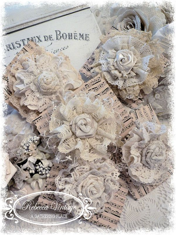 Vintage Lace Tattered Rose Pins from REBECCA VINTAGE - A Gathering Place