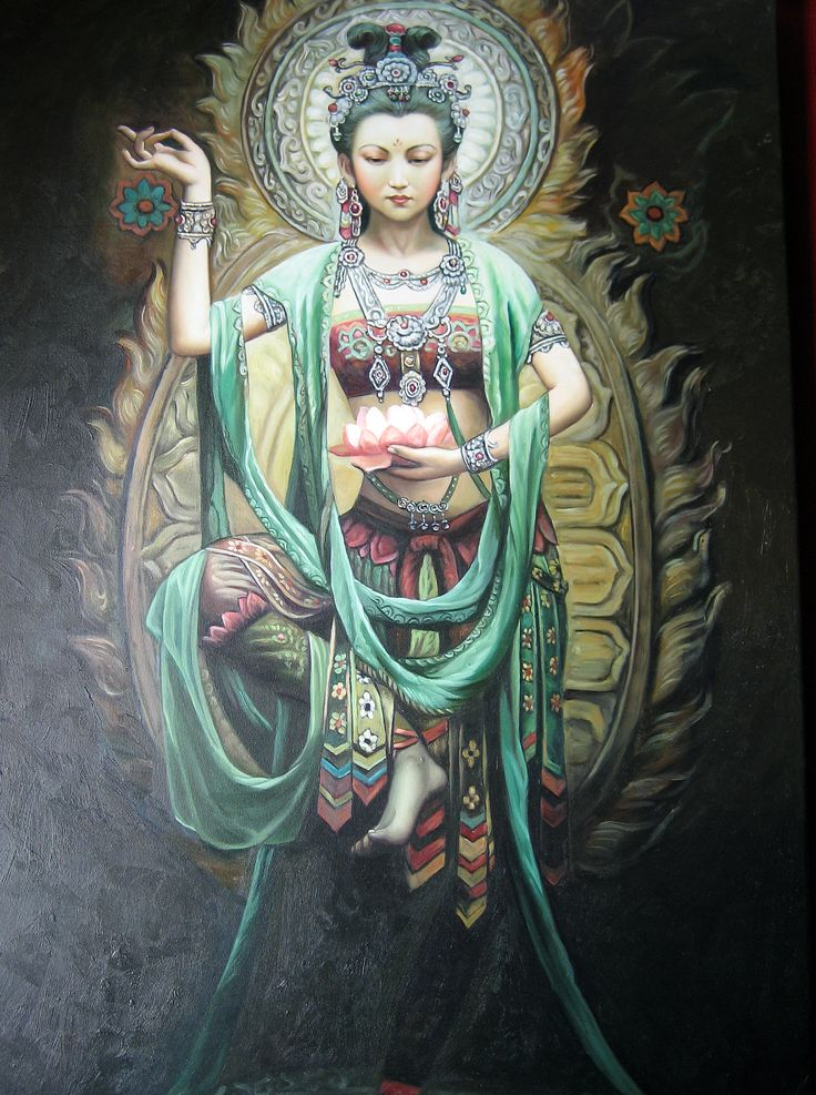"Kwan Yin (or Guanyin) by Phaedri -- is the bodhisattva associated with compassion as venerated by East Asian Buddhists, usually as a female. The name Guanyin is short for Guanshiyin, which means ""Observing the Sounds (or Cries) of the World"". It is generally accepted among East Asian adherents that Guanyin originated as the Sanskrit Avalokiteśvara (अवलोकितेश्वर). Commonly known in English as the Goddess of Mercy."