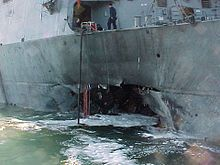 The USS Cole bombing was a suicide attack against the United States Navy guided-missile destroyer USS Cole (DDG-67) on 12 October 2000, while it was harbored and being refueled in the Yemen port of Aden. Seventeen American sailors were killed, and 39 were injured. This event was the deadliest attack against a United States Naval vessel since 1987.