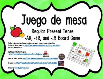 A board game for students to reinforce present tense conjugations! This includes common -AR, -ER, & -IR verbs. I have included 2 versions that are great for differentiation. In version 1, students roll & dice and the space has a verb & a pronoun (Example: comer (yo)).